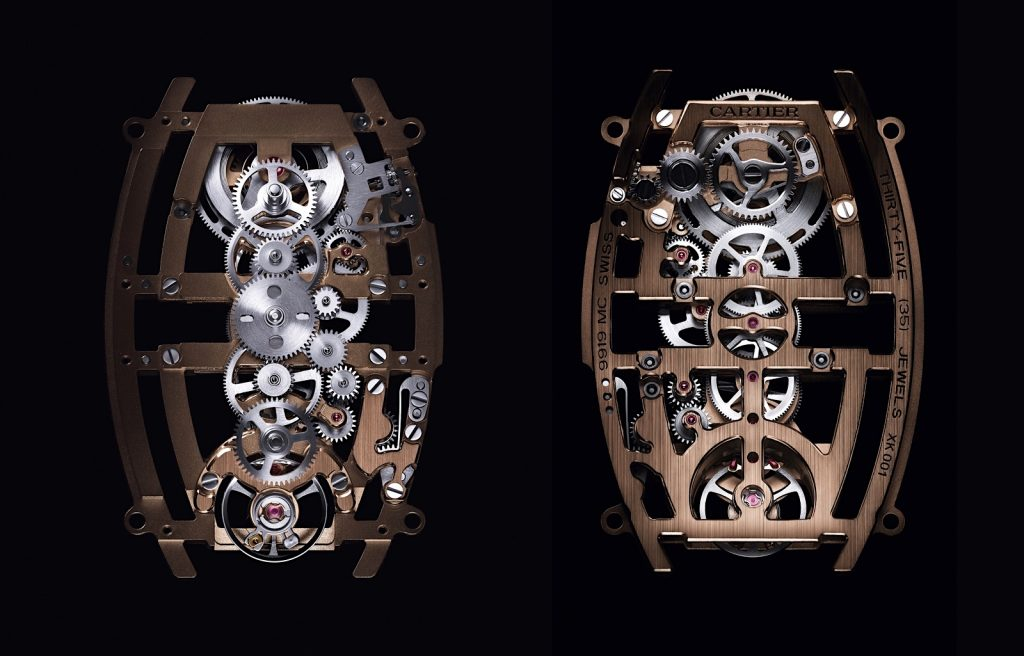Replique Cartier Privé Tonneau Skeleton Dual Time Zone calibre 9919 MC